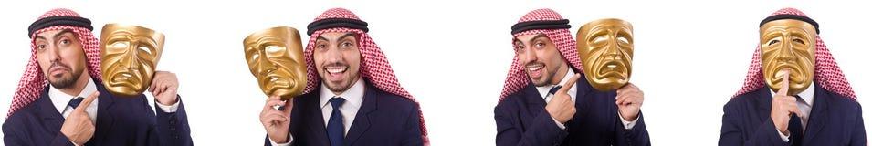 Arabski mężczyzna z maską odizolowywającą na bielu fotografia stock