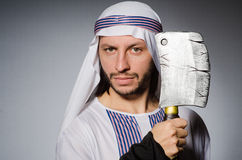 Arabski mężczyzna z ostrzem Obraz Stock