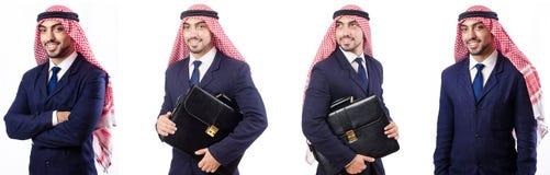 Arabski mężczyzna z torbą odizolowywającą na bielu zdjęcia stock
