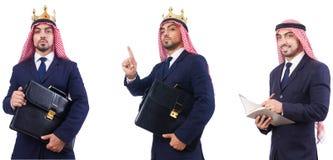 Arabski mężczyzna z torbą odizolowywającą na bielu zdjęcie stock