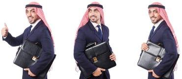 Arabski mężczyzna z torbą odizolowywającą na bielu obrazy royalty free