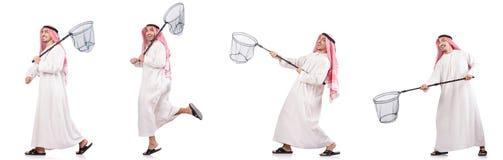 Arabski mężczyzna z łapanie siecią odizolowywającą na bielu Obrazy Stock