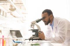 Arabski naukowiec używa nowożytnego mikroskop zdjęcia stock