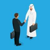 Arabski partnera uścisku dłoni pojęcie Transakcja biznesowa uścisk dłoni z Arabski i Europejski etnicznym obsługuje Płaski 3d wek royalty ilustracja