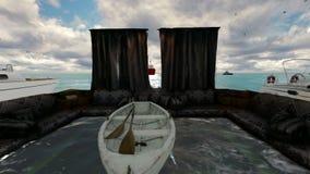 Arabski salon po środku oceanu i statki przy popołudniem zdjęcie wideo