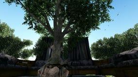 Arabski salon po środku zielonych drzew przy dniem zbiory