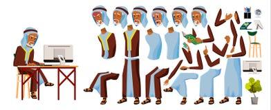 Arabski starego człowieka urzędnika wektor Arab, muzułmanin Biznesowy animacja set Twarzowe emocje, gesty Biznesmen osoba Obrazy Stock