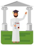 Arabski uczeń z dyplomem Obrazy Royalty Free