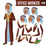 Arabski urzędnika wektor Arab, muzułmanin Twarzy emocje, Różnorodni gesty Animaci tworzenia set Biznesmen istota ludzka Obrazy Stock
