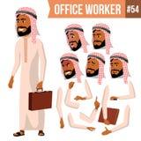 Arabski urzędnika wektor Saudyjczyk, emiraty, Katar, Uae Twarzy emocje, Różnorodni gesty Animaci tworzenia set Obraz Royalty Free