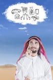 Arabski wyobraża sobie jego sen Zdjęcie Stock