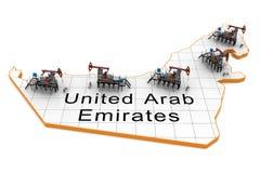 arabskiej emiratów dźwigarek mapy nafciana pompa jednocząca royalty ilustracja