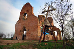 Araca monastery. Araca, ruins of the medieval Romanesque church, which is located in the Banat plain and reminiscent of past days Stock Image
