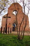 Araca monastery. Araca, ruins of the medieval Romanesque church, which is located in the Banat plain and reminiscent of past days Stock Photos