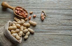 Arachid w nutshell w burlap worku lub parciak na drewnianym tle skład arachidy obrazy stock