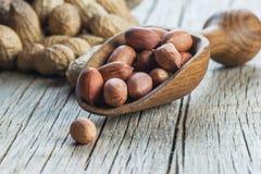 Arachid w nutshell w drewnianej łopacie na drewnianym tle skład arachidy fotografia royalty free