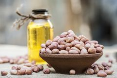 [Arachis hypogaea] Raw Groundnut in a clay bowl with groundnut oil on a gunny background. Stock Photography