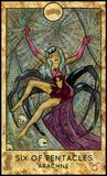 Arachne. Six of pentacles. Fantasy Creatures Tarot full deck. Minor arcana. Hand drawn graphic illustration, engraved colorful painting with occult symbols Royalty Free Stock Photos