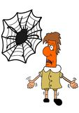 Arachnophobia. This illustration depicts an arachnophobian man Stock Image