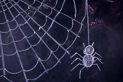 Arachnophobia: Fear of Spiders. Graphic representation with chalk on the blackboard of arachnophobia fear of spiders Royalty Free Stock Photos