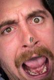 Arachnophobia-Mann erschrocken stockfoto