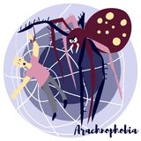 Arachnohobia. Arachnophobia vector illustration with violet colors. Picture is about the most common phobia. Arachnophobia is the irrational fear of spiders and vector illustration