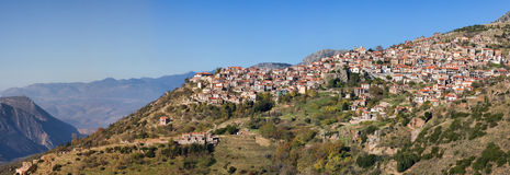 Arachova. Panoramic view of Arachova town in Greece Stock Image