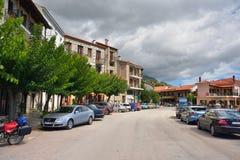 Arachova village in Greece. Arahiva, Greece - Sept 20, 2016: Main street in the famous resort of Arachova on mountain Parnassos, Greece Stock Photos