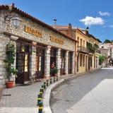 Arachova village in Greece. Arahiva, Greece - Sept 20, 2016: Street in the famous resort of Arachova on mountain Parnassos, Greece Stock Photography