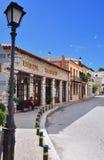 Arachova village in Greece. Arahiva, Greece - Sept 20, 2016: Street in the famous resort of Arachova on mountain Parnassos, Greece Stock Photos