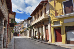 Arachova village in Greece. Arahiva, Greece - Sept 20, 2016: Street in the famous resort of Arachova on mountain Parnassos, Greece Royalty Free Stock Photography