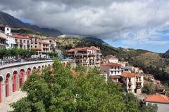 Arachova village in Greece. Arahiva, Greece - Sept 20, 2016: View on the famous resort of Arachova on mountain Parnassos, Greece Royalty Free Stock Photo