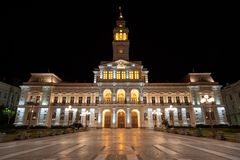 Arad city hall cityscape by night. With city lights , Romania stock photography