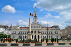 Arad City Hall. ARAD, ROMANIA - 05.09.2017: City Hall landmark architecture with beautiful sky Royalty Free Stock Photo