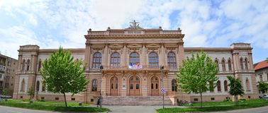 Arad city highschool. ARAD, ROMANIA Moise Nicoara highschool landmark architecture Royalty Free Stock Images