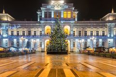 ARAD, ROMANIA – DECEMBER 17, 2015: Christmas Tree in Arad. ARAD, ROMANIA – DECEMBER 17, 2015: Christmas Tree in front of the Arad City Hall at night in Royalty Free Stock Photo