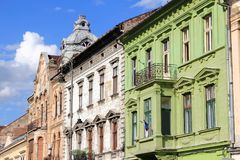 Arad, Romania. Street view with old apartment buildings Royalty Free Stock Photo