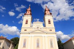 Arad, Romania. Cathedral of the Birth of Saint John the Baptist. Baroque church architecture stock images