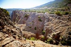 Aradena gorge. Bridge of Aradena gorge in West Crete that often used for bungee jumping Stock Photo