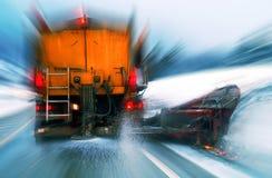 Arado de la nieve en la acción Fotos de archivo libres de regalías