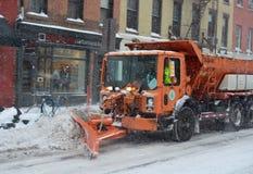 Arado de neve em Manhattan New York Fotos de Stock Royalty Free