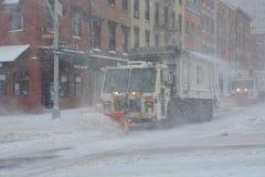 Arado de neve em Manhattan New York Fotografia de Stock