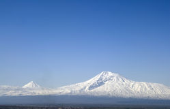 Aragats mountain. View from Armenia to biblical Ararat mountain Stock Photos