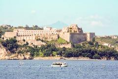 Aragon castle at Baia,. As seen fron sea Pozzuoli, Naples Stock Photos