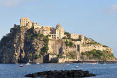 Aragon castle of Ichsia,Italy. The Aragon Castle stands on a rocky islet connected to the trachytic eastern side of the island of Ischia through a stone bridge Royalty Free Stock Photography