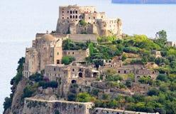Aragon castle of Ischia. Wellknown historic castle on Ischia island near Naples in Italy Stock Photography