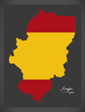 Aragon map with Spanish national flag illustration Royalty Free Stock Photos