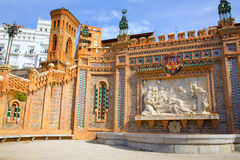 Aragon Teruel Amantes fountain in La Escalinata Spain. Aragon Teruel Amantes fountain in La Escalinata and Mudejar towers in Spain Stock Photo