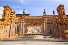 Aragon Teruel Amantes springbrunn i La Escalinata Spanien royaltyfri fotografi