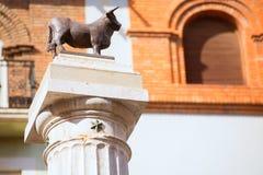 Aragon Teruel El Torico statue Plaza Carlos Castel Spain. Aragon Teruel El Torico statue in Plaza Carlos Castel square at Spain Stock Photo